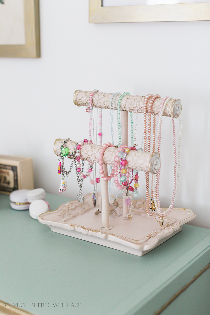 Sweet Details of My Little Girl's French Bedroom/pink and gold jewelry stand - So Much Better With Age