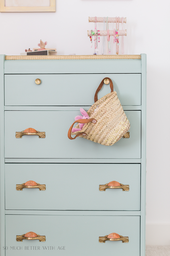 Sweet Details of My Little Girl's French Bedroom/green dresser, market basket - So Much Better With Age