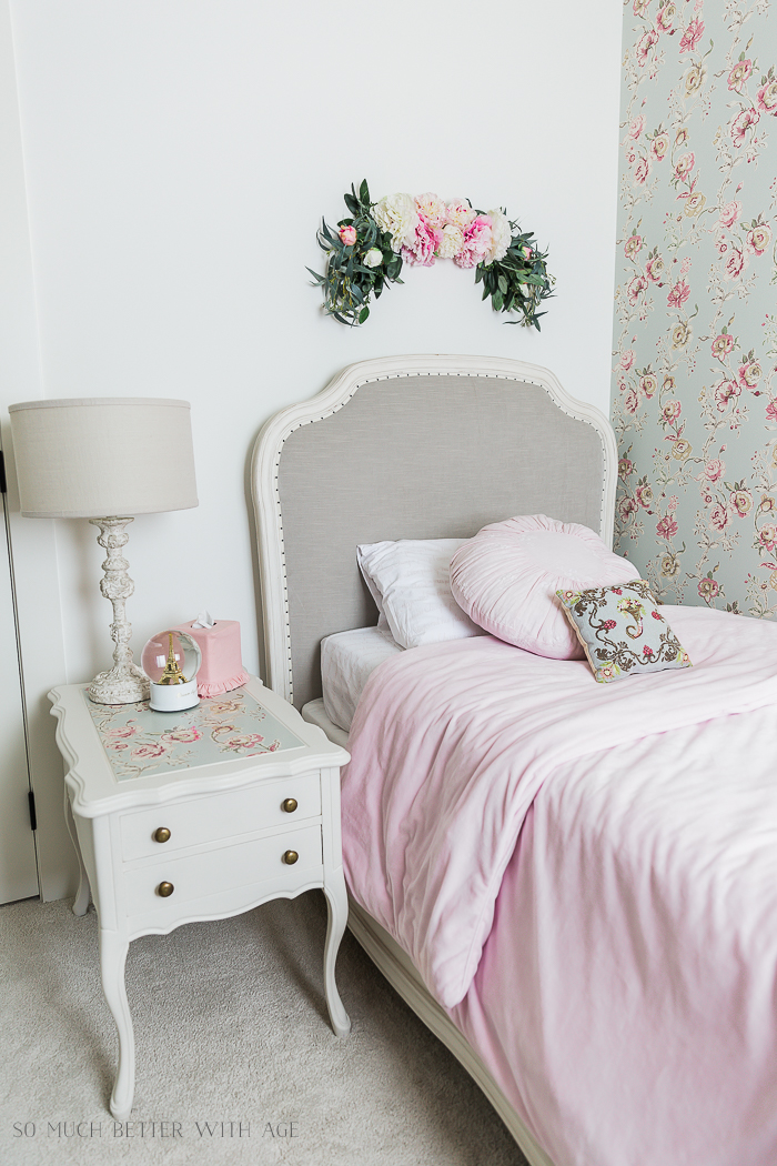 Sweet Details of My Little Girl's French Bedroom/grey velvet bed - So Much Better With Age