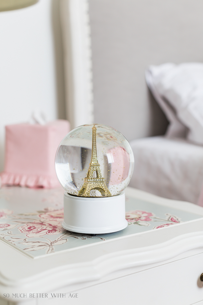 Sweet Details of My Little Girl's French Bedroom/Eiffel Tower snow globe - So Much Better With Age