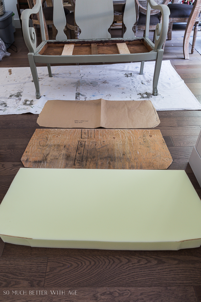 Settee Makeover - How to Upholster a Bench Seat/foam cut for bench - So Much Better With Age