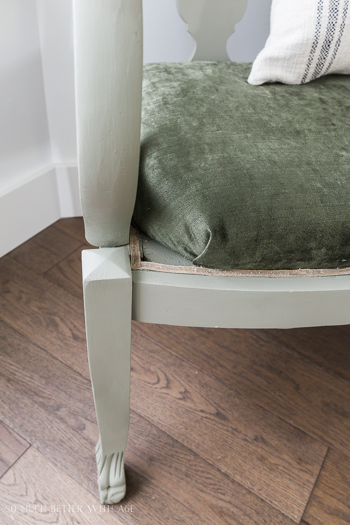 Settee Makeover - How to Upholster a Bench Seat/upholstering corners - So Much Better With Age