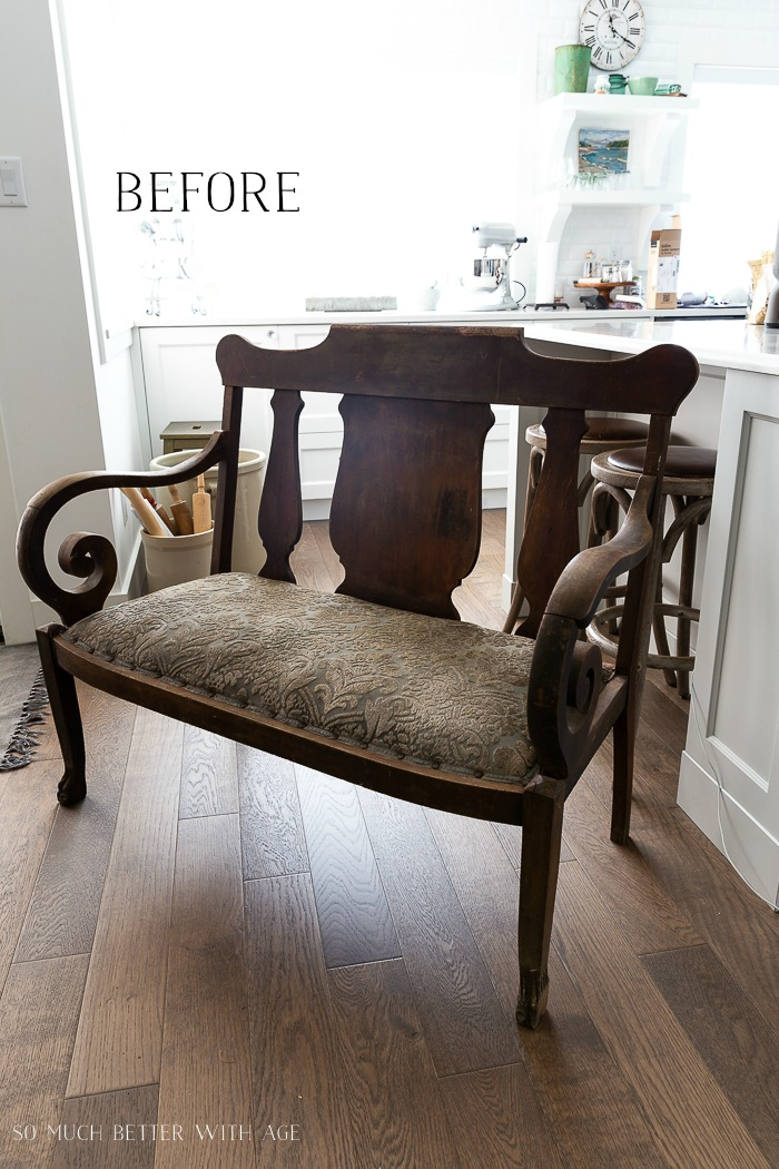 Settee Makeover - How to Upholster a Bench Seat/before settee - So Much Better With Age