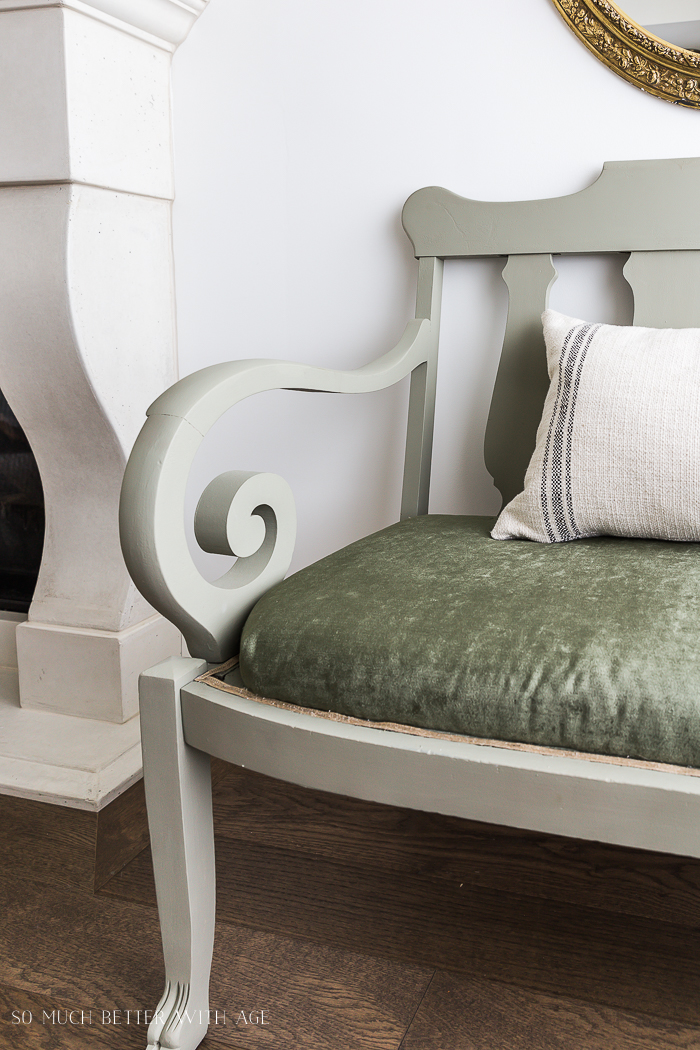 Settee Makeover - How to Upholster a Bench Seat/green settee - So Much Better With Age