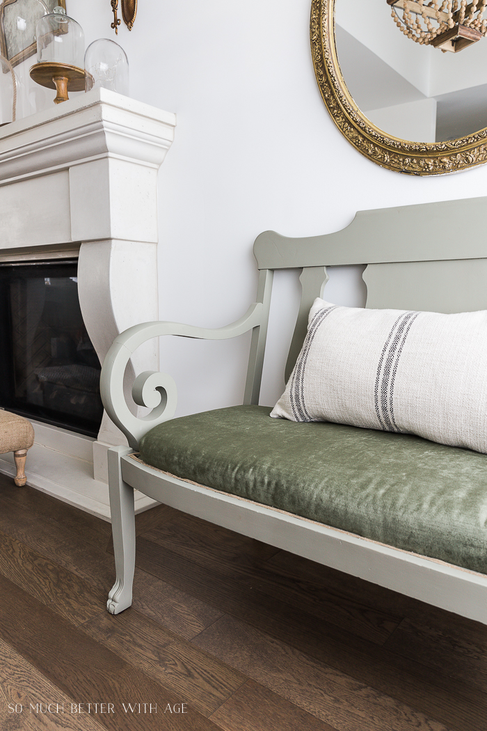Settee Makeover - How to Upholster a Bench Seat/green velvet settee - So Much Better With Age