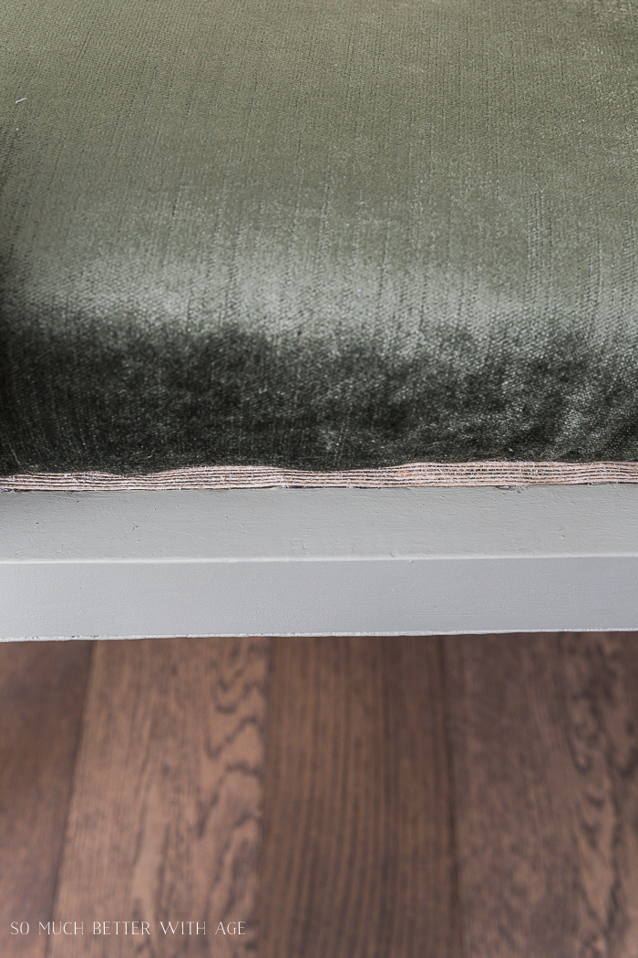 Settee Makeover - How to Upholster a Bench Seat/edging around upholstered bench - So Much Better With Age