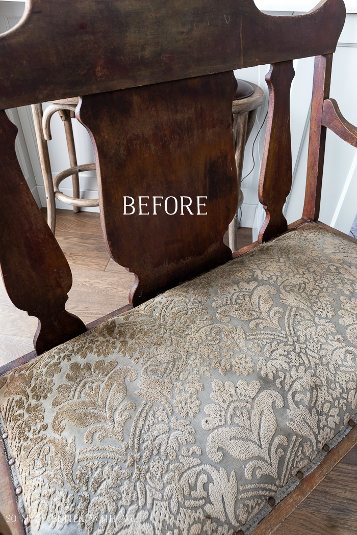 Settee Makeover - How to Upholster a Bench Seat/before old settee - So Much Better With Age