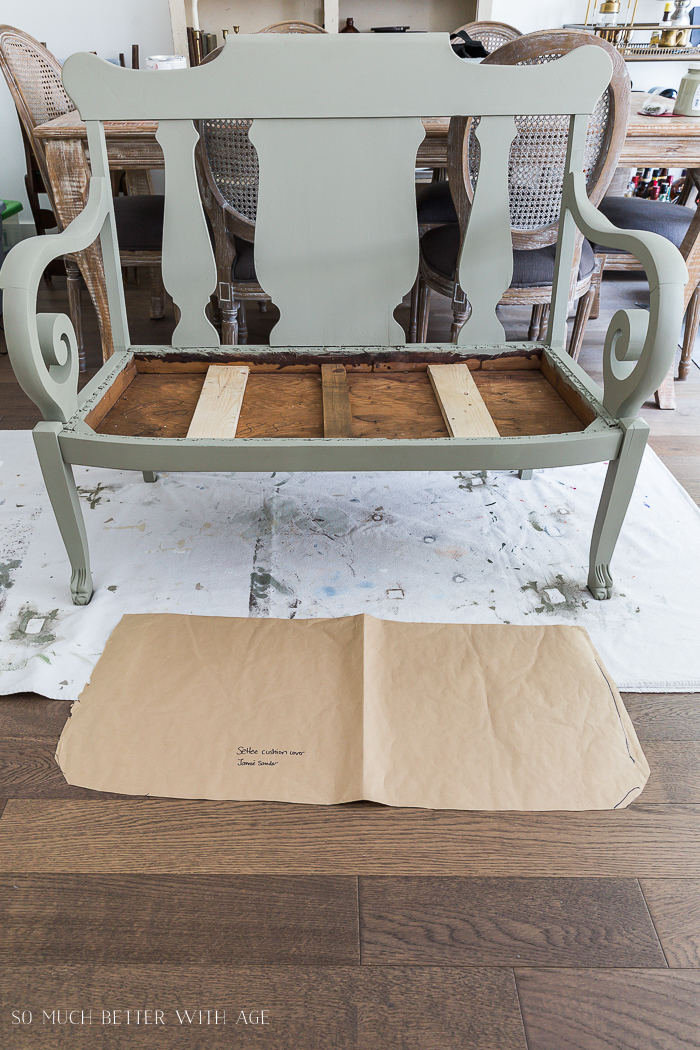 Settee Makeover - How to Upholster a Bench Seat/make template of kraft paper for bench seat - So Much Better With Age