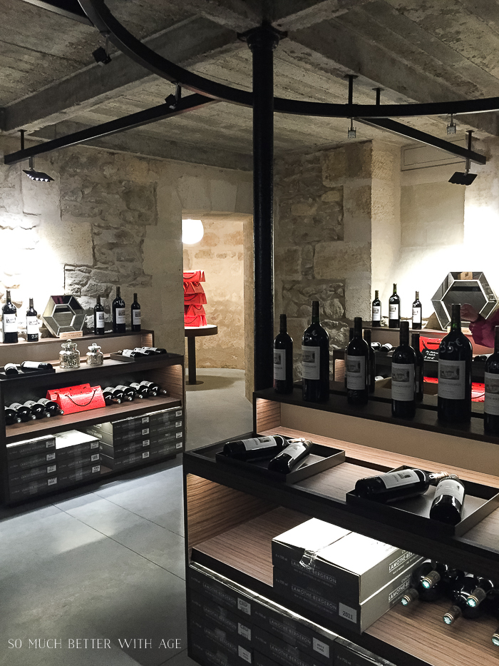 The wine shop in Bordeaux winery.