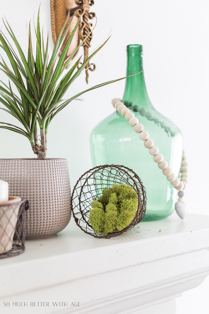 Creative Greenery Spring Mantel/moss, plants- So Much Better With Age