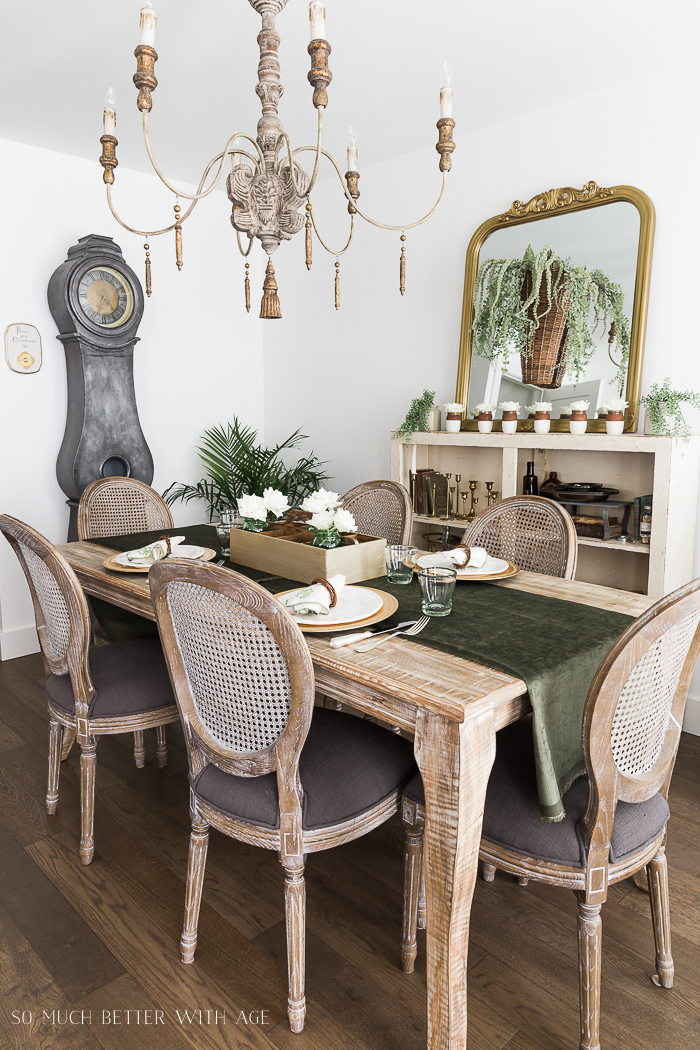 Spring Dining Room with Greenery and Gold - So Much Better With Age