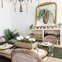 Spring Dining Room with Greenery and Gold