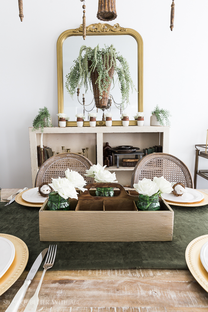 Spring Dining Room with Greenery and Gold/gold painted toolbox - So Much Better With Age