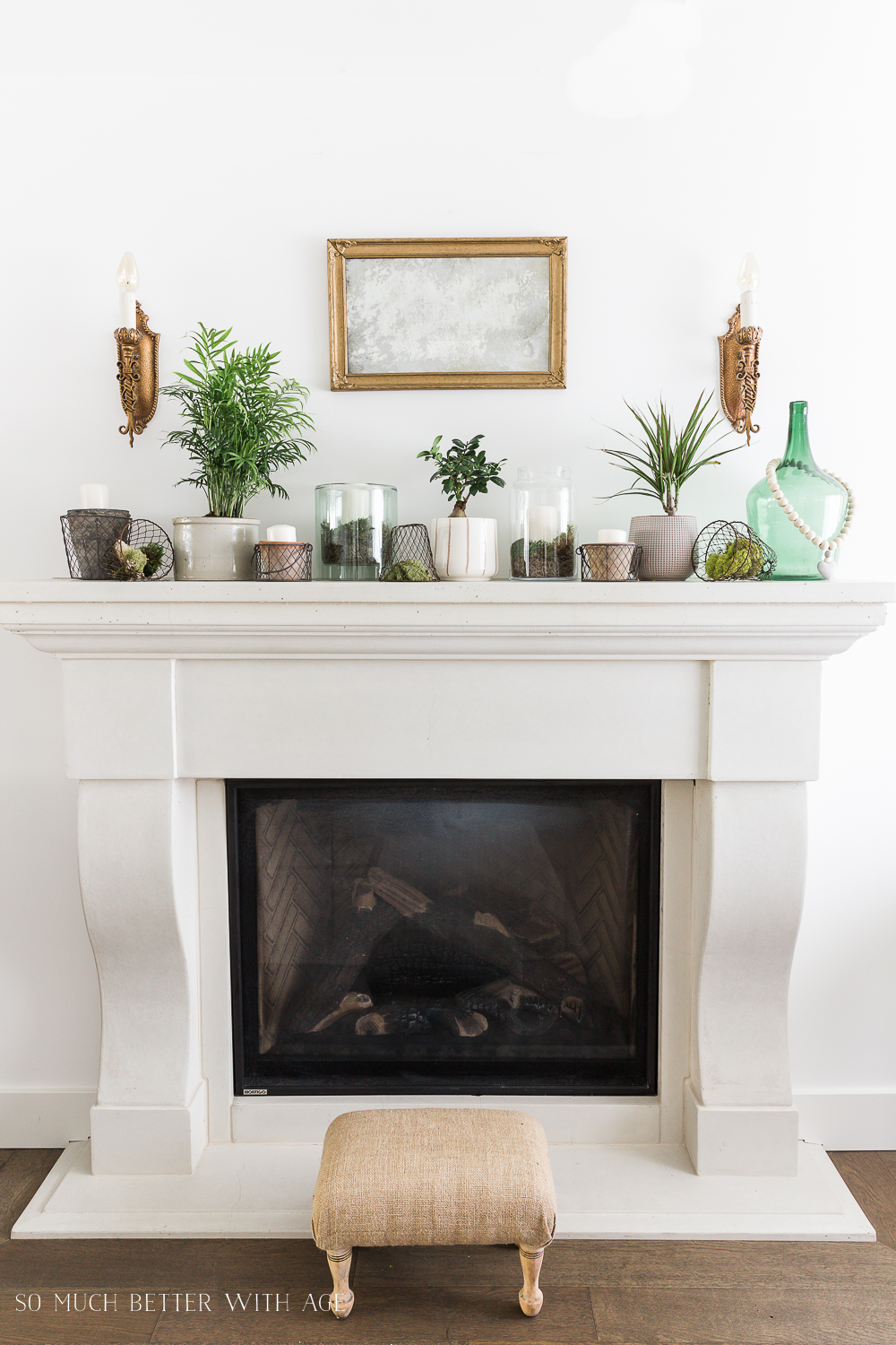 Creative Greenery Spring Mantel | So Much Better With Age