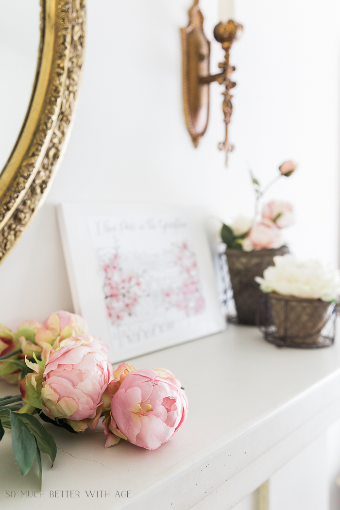 How to Make Canvas Art from Free Printables/faux peonies - So Much Better With Age
