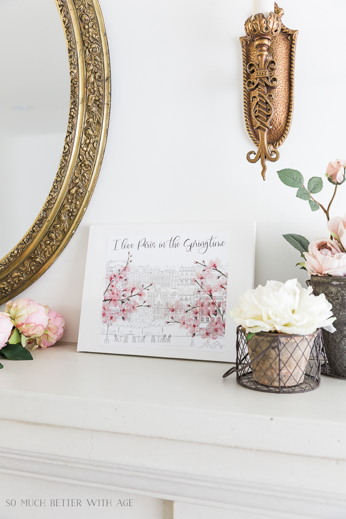 How to Make Canvas Art from Free Printables/flowers on mantel - So Much Better With Age
