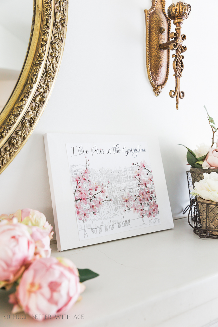 How to Make Canvas Art from Free Printables/faux peonies and art - So Much Better With Age