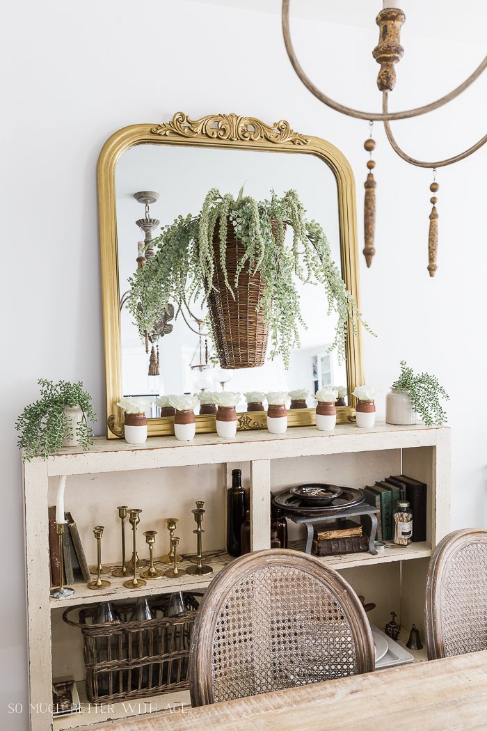 Spring Dining Room with Greenery and Gold/basket on mirror - So Much Better With Age