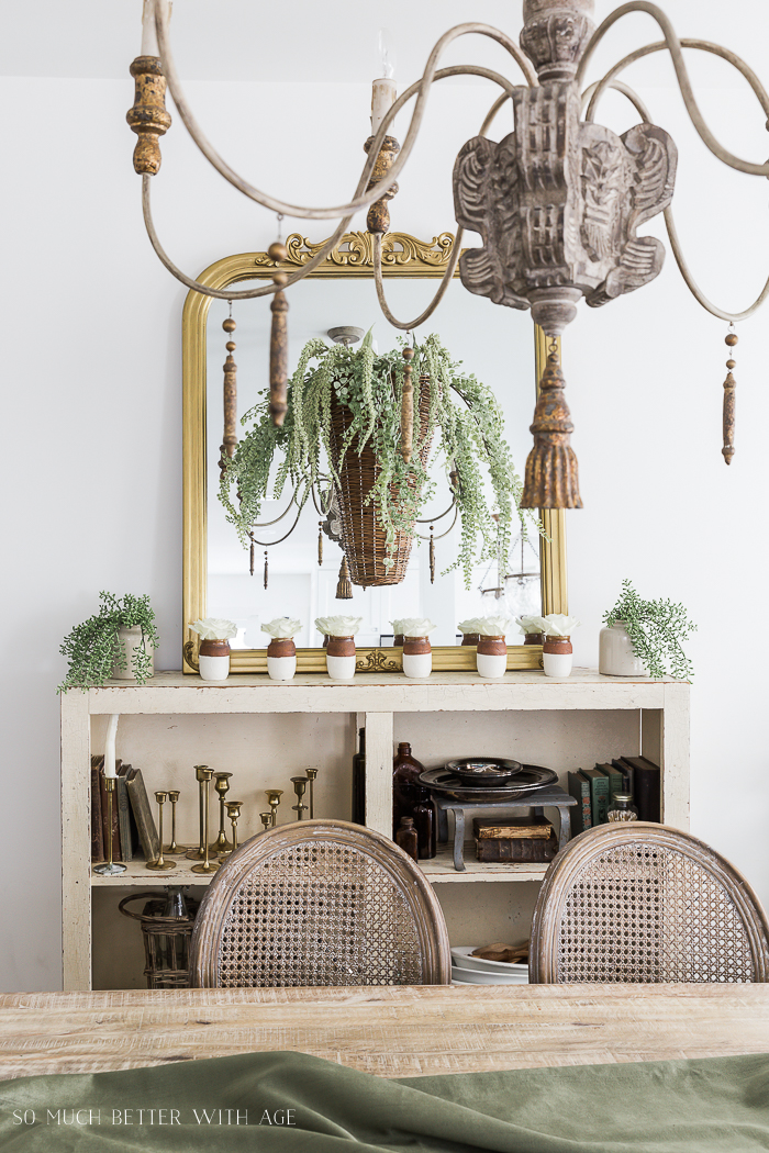 Paint Dipped Pots & Spring Greenery/French chandelier - So Much Better With Age