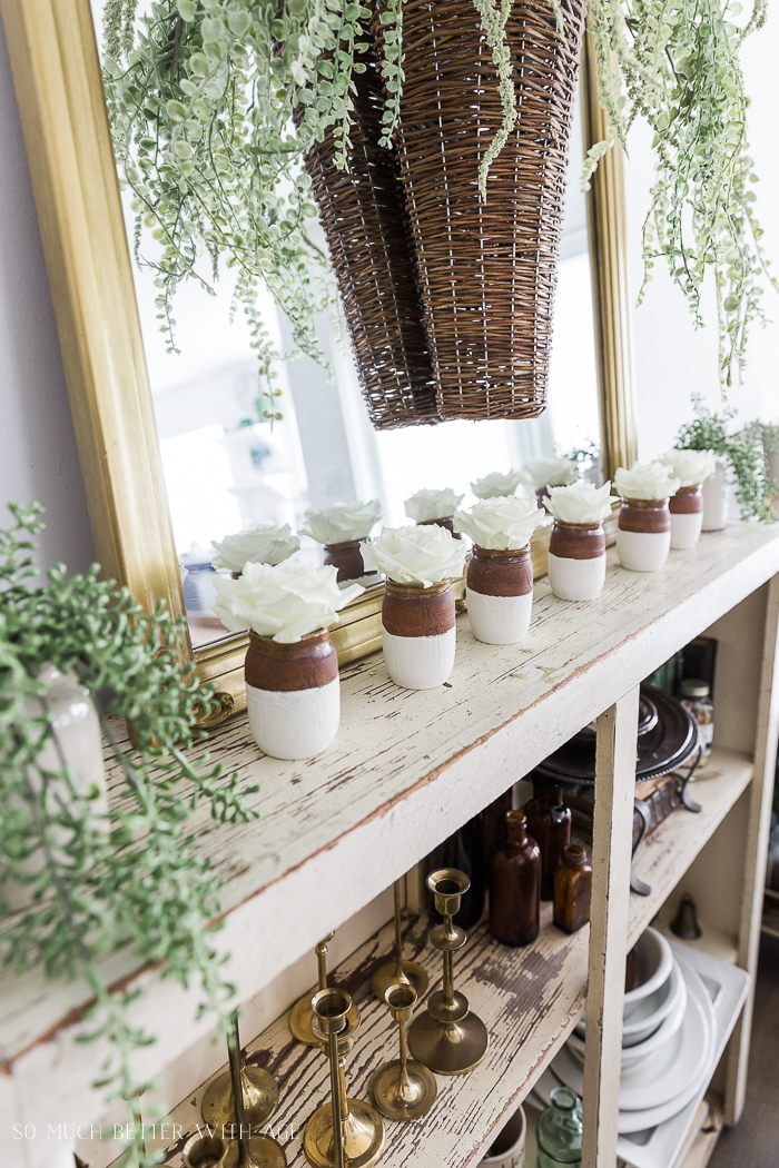 Paint Dipped Pots & Spring Greenery/faux greenery - So Much Better With Age