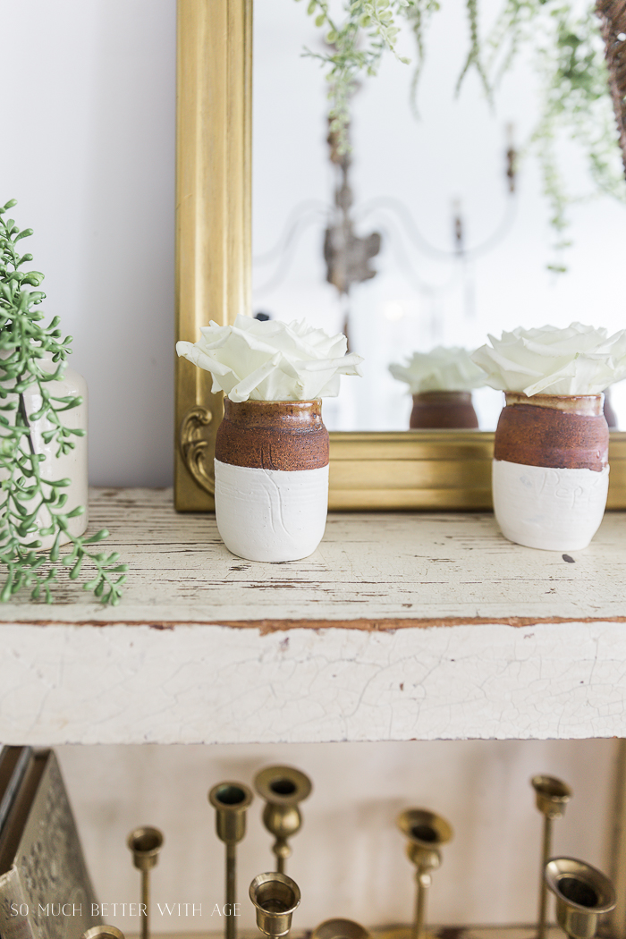 Paint Dipped Pots & Spring Greenery/rose in dipped pot - So Much Better With Age