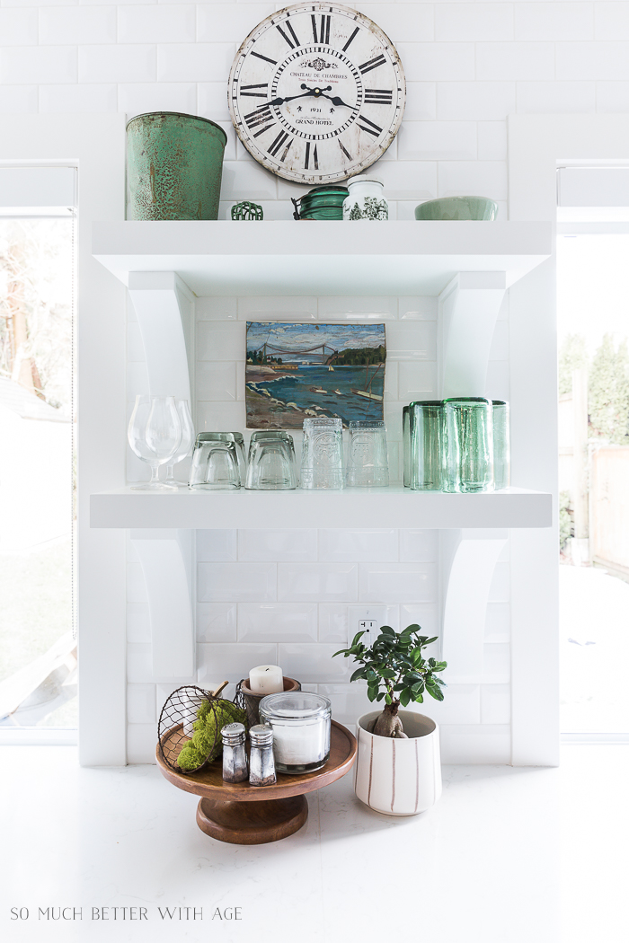 Simple Spring Decor Ideas/kitchen shelves, green decor - So Much Better With Age
