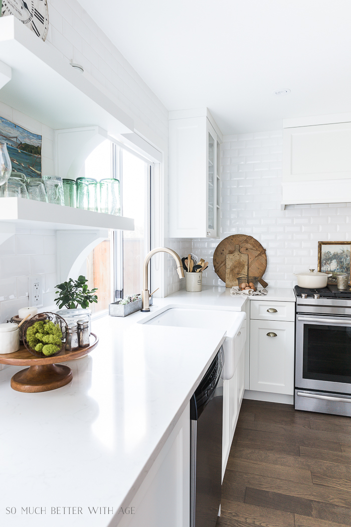 Simple Spring Decor Ideas/bread boards, white kitchen - So Much Better With Age