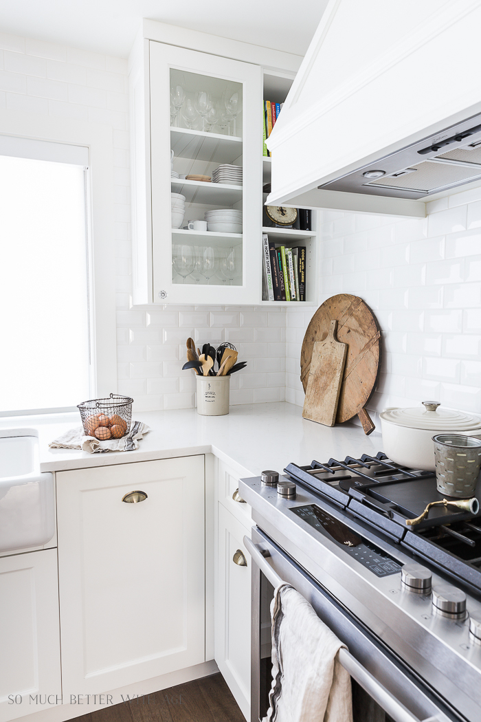 Simple Spring Decor Ideas/white kitchen, bread boards, eggs - So Much Better With Age
