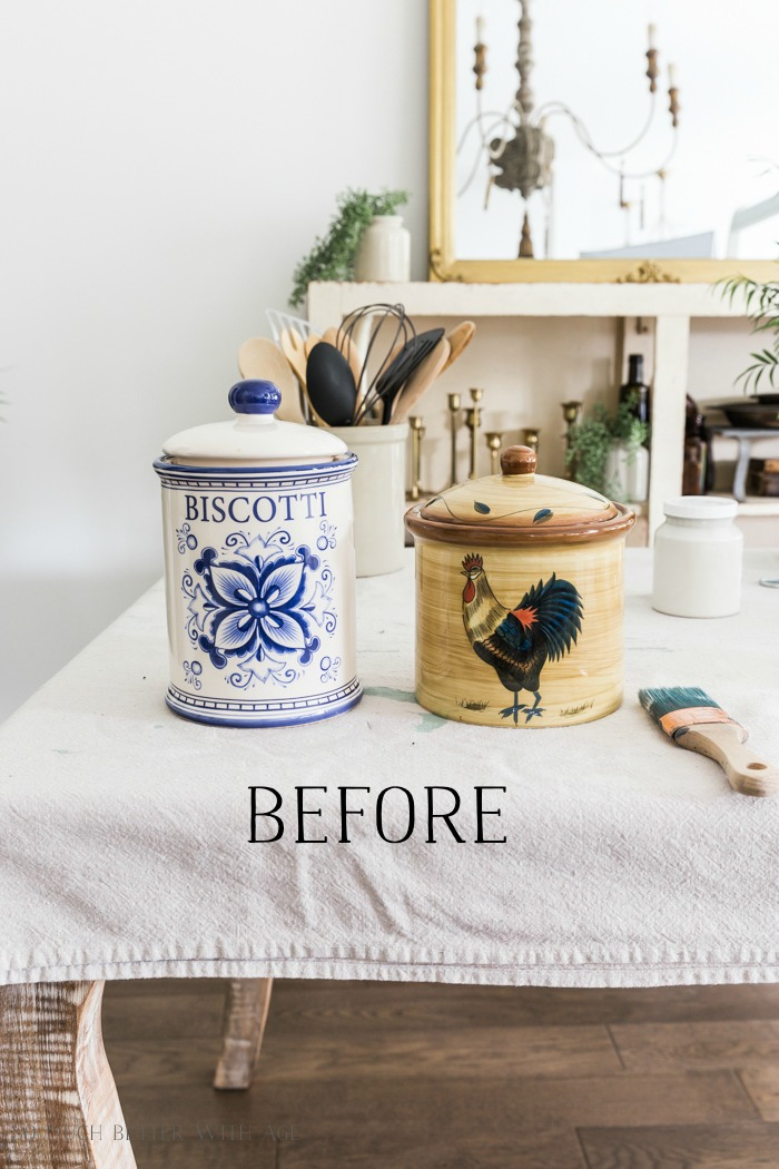 Crock (or Pottery) from Thrift Store Canister/before old canisters - So Much Better With Age