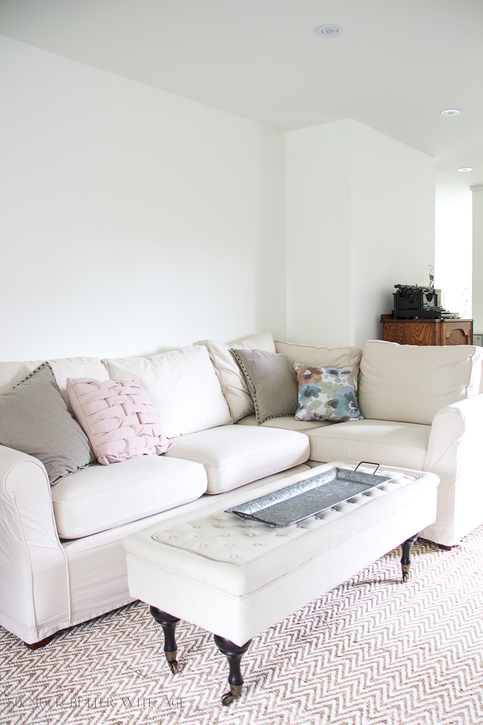 Honest Review of Pottery Barn's Slipcovers/white slipcovers on sectional - So Much Better With Age