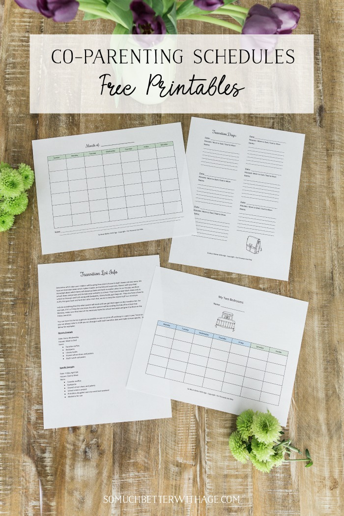Co-Parenting Schedules - Free Printables graphic - So Much Better With Age