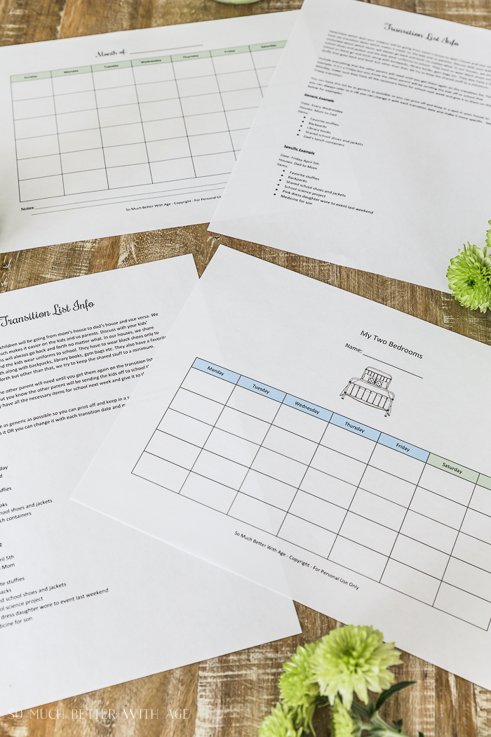 Co-Parenting Schedules - Free Printables/divorced family schedule - So Much Better With Age