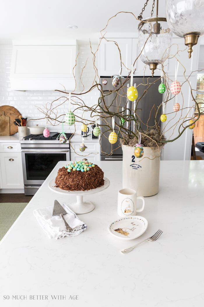 How to Make an Easter Egg Tree/Easter egg and Easter tree in kitchen - So Much Better With Age