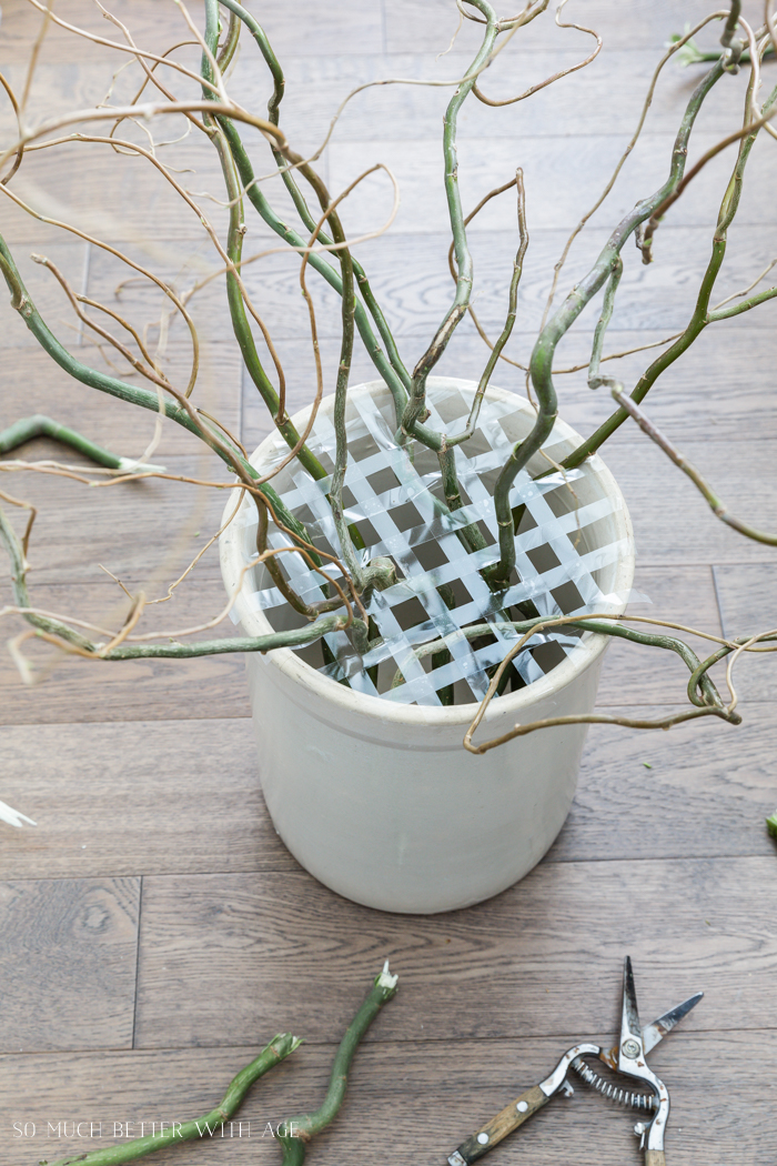 How to Make an Easter Egg Tree/stick curly branches in pot - So Much Better With Age