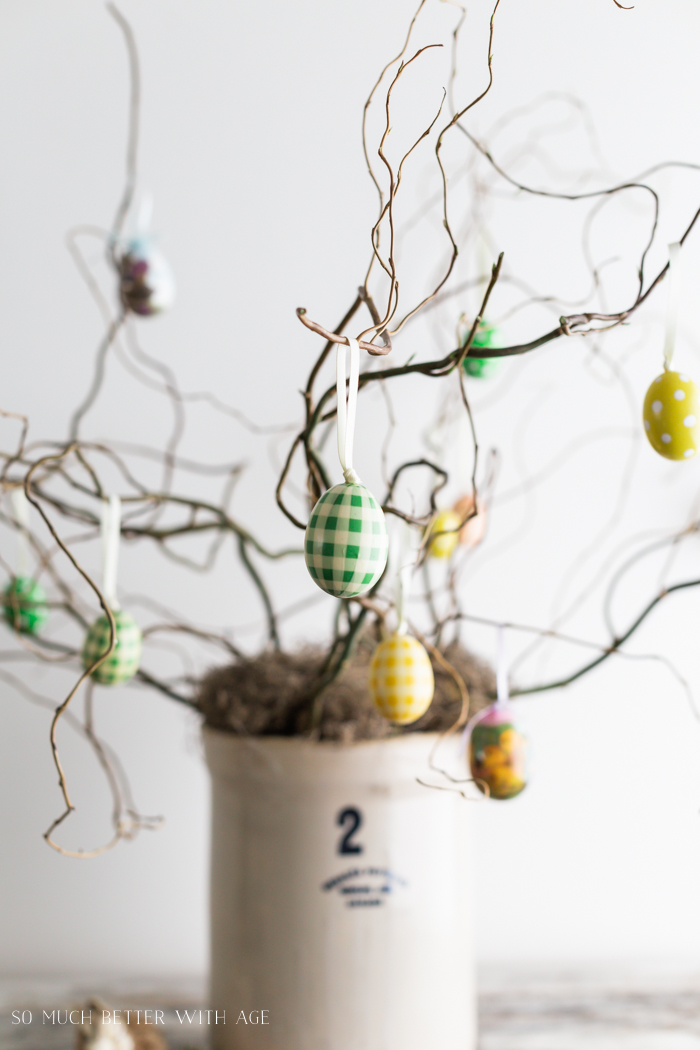 How to Make an Easter Egg Tree/hanging Easter eggs on tree - So Much Better With Age