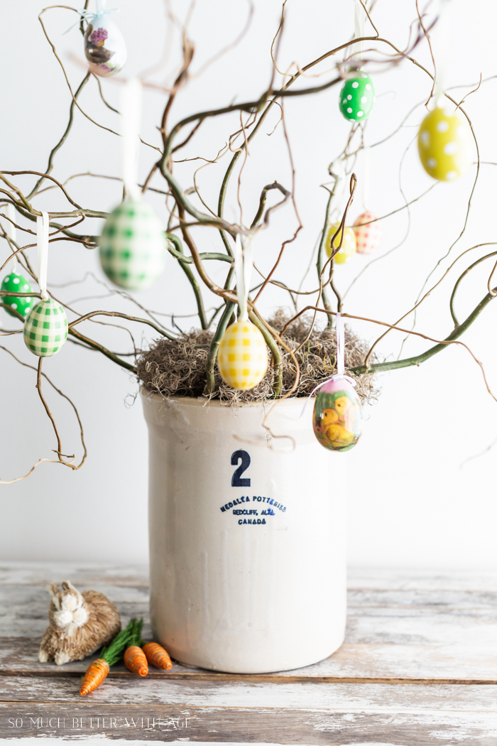 How to Make an Easter Egg Tree/Easter egg ornaments on branches - So Much Better With Age