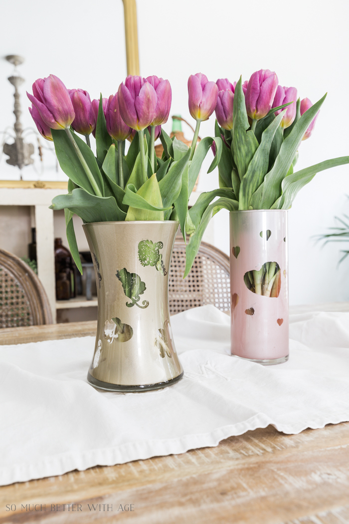 Mother's Day Painted Vase/pink and gold vases- So Much Better With Age