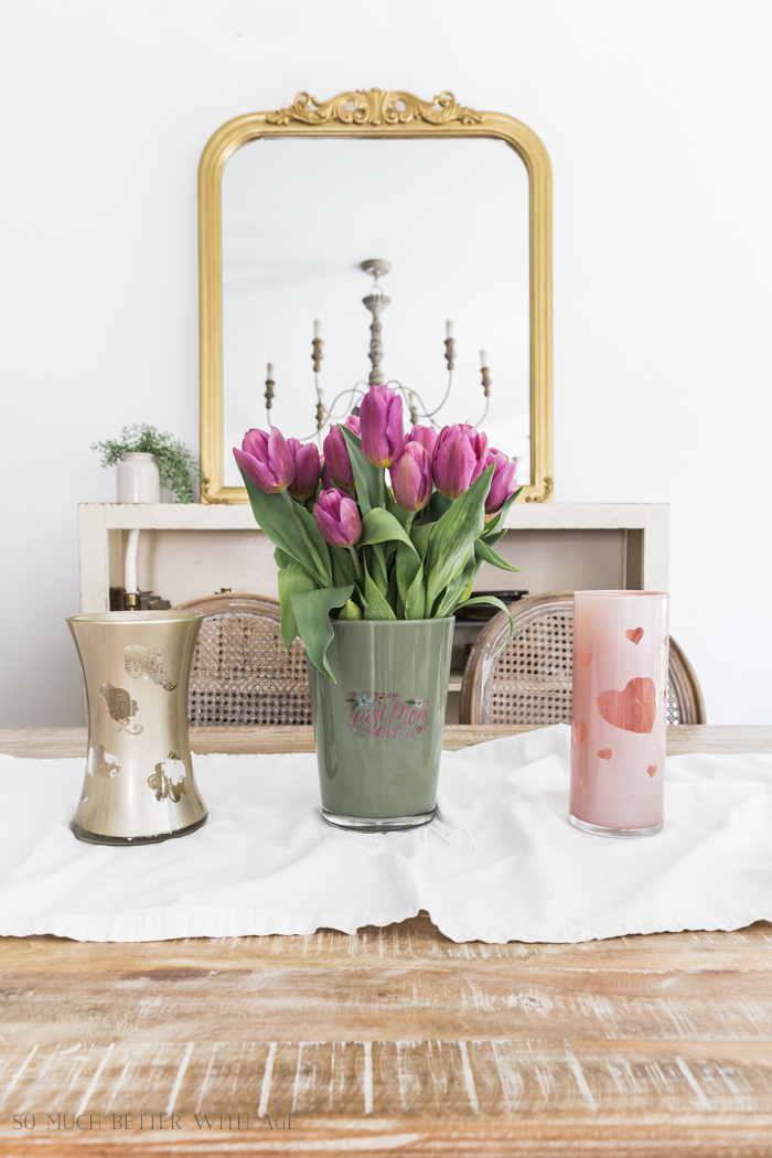 Mother's Day Painted Vase/green, gold and pink vases and tulips - So Much Better With Age