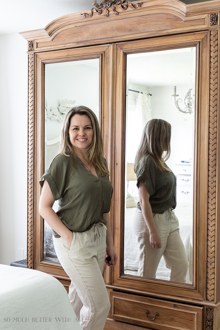 Spring/Summer Wardrobe Capsule from H&M/green top, linen pants - So Much Better With Age