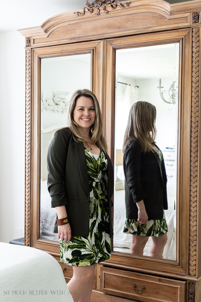 Spring/Summer Wardrobe Capsule from H&M/green leaf dress and green blazer - So Much Better With Age