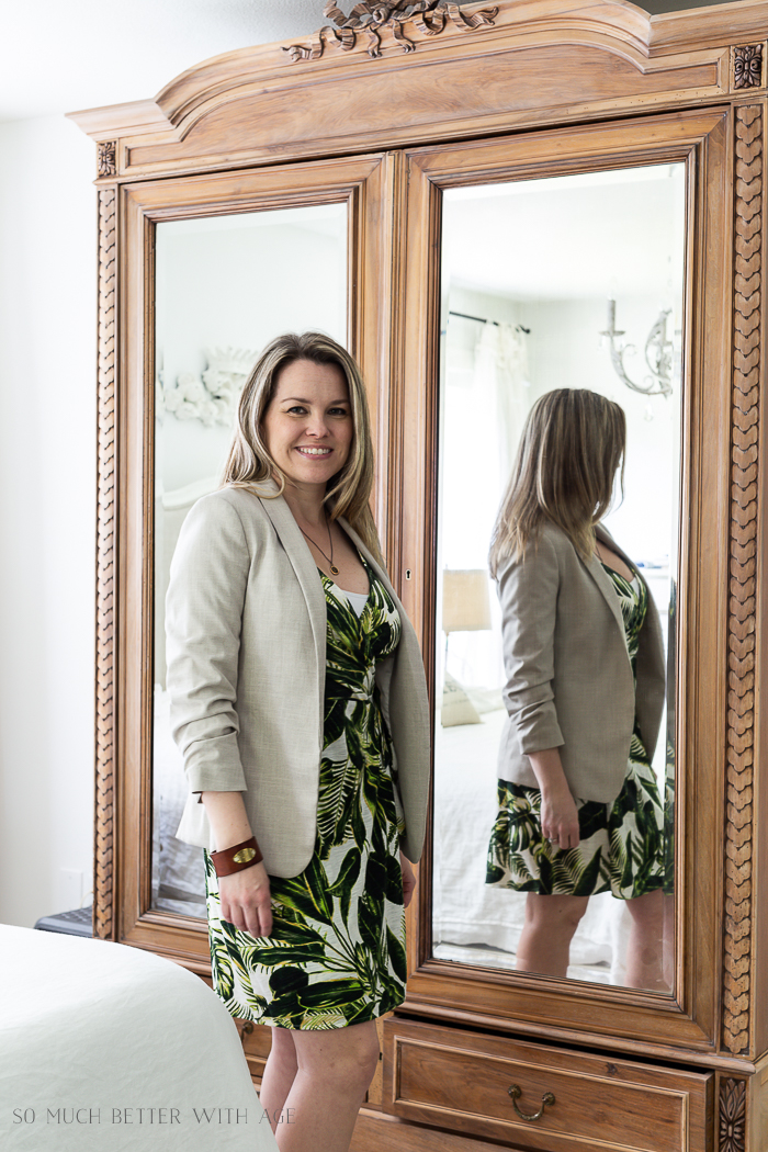 Spring/Summer Wardrobe Capsule from H&M/linen blazer and green leaf dress - So Much Better With Age