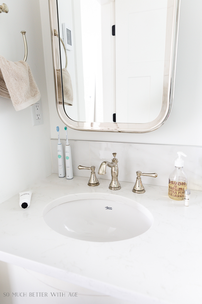 Bathroom Minimalism - How I Organize All My Small Bathrooms/nickel coated medicine cabinet | So Much Better With Age