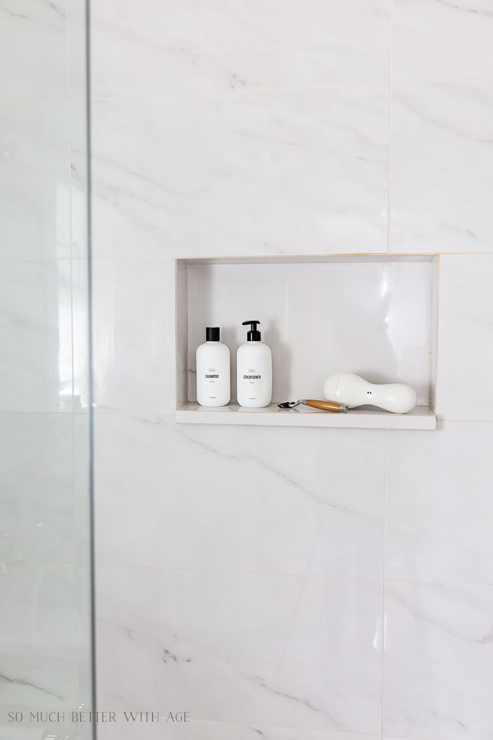 Bathroom Minimalism | How I Organize Small Bathrooms/shower niche - So Much Better With Age