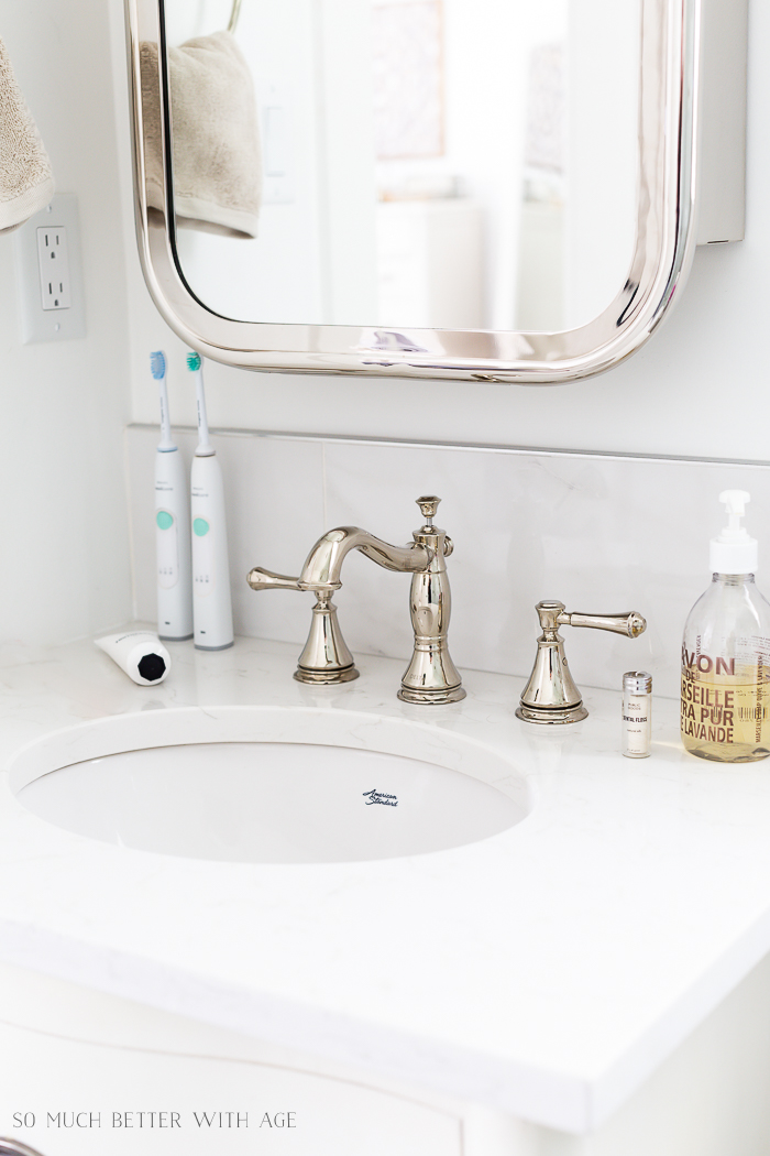 Faux Carrara Marble Porcelain Tile/white bathroom sink, nickel faucet - So Much Better With Age