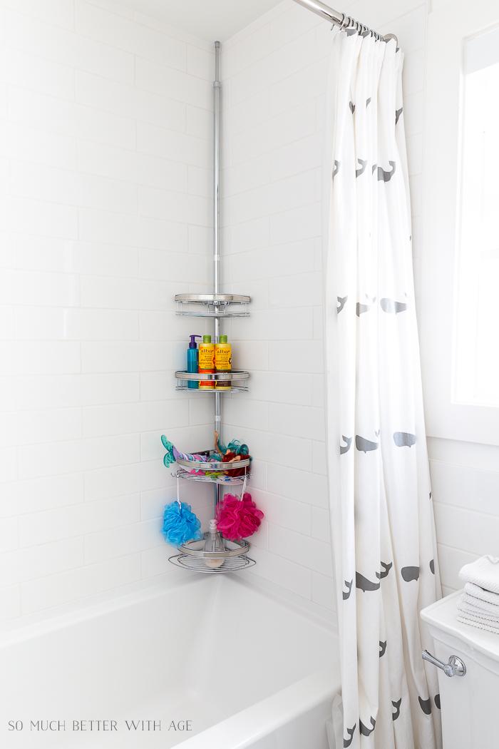 Bathroom Minimalism How I Organize Small Bathrooms/bathtub corner organizer - So Much Better With Age