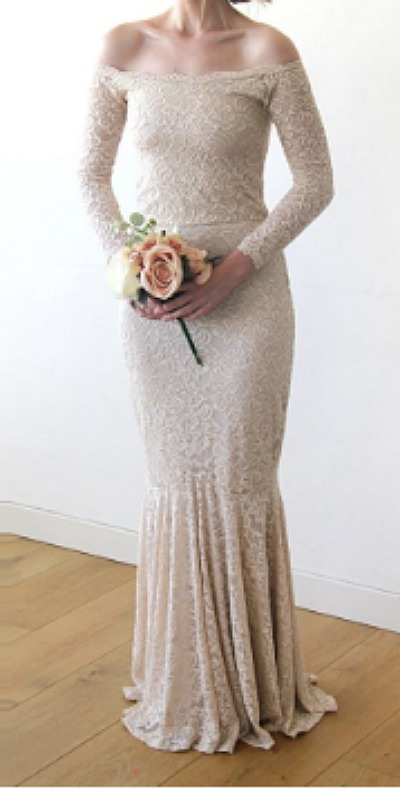 Simple and Romantic Wedding Dresses Under $310/champagne coloured mermaid dress - So Much Better With Age