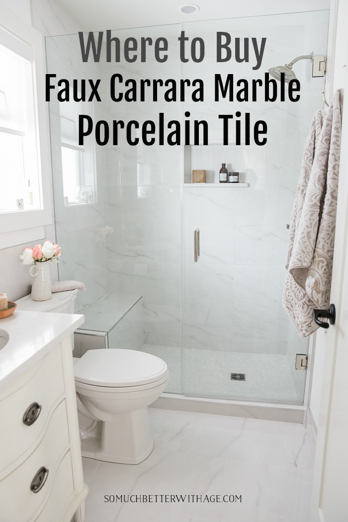 Where to Buy Faux Carrara Marble Porcelain Tile - So Much Better With Age