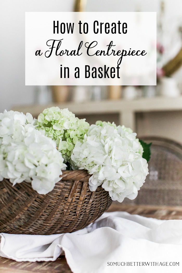 How to create a floral centrepiece in a basket poster.