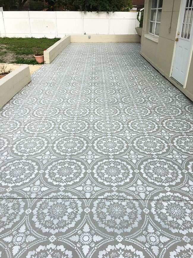 Stencill pattern outdoor floor.