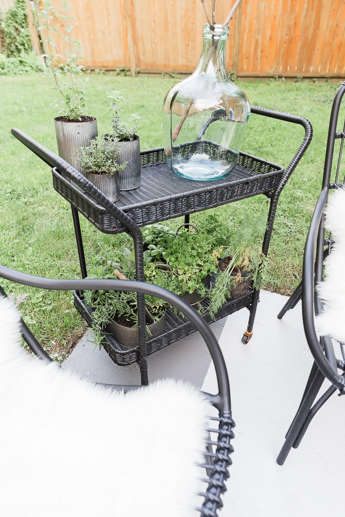 Black bar cart with plants and glass vase.